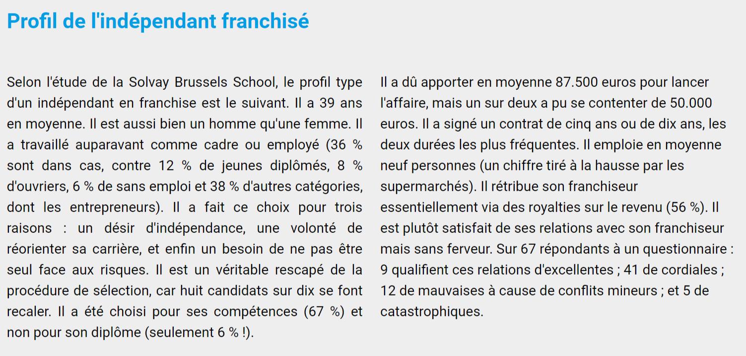 Profil de l'indépendant franchisé